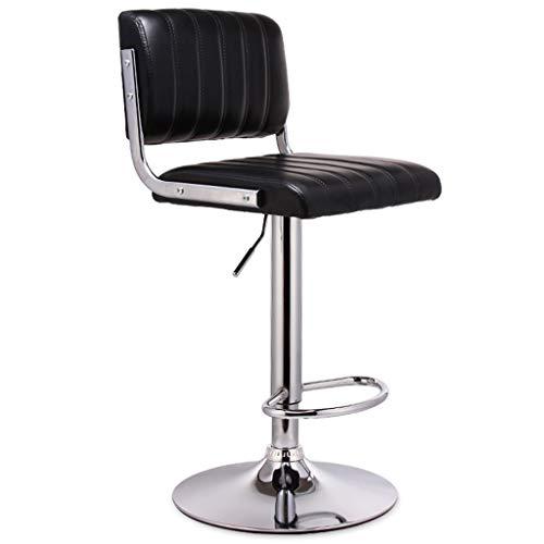 Barhocker Stuhl Fußstütze Barhocker Stuhl Fußstütze mit Rechteck Schwarz PU Sitzlehne Verstellbare Schwenkbare Gas Lift für Frühstück Pub Café Barhocker 41cm verchromter Tellerfuß max. Laden Sie 150