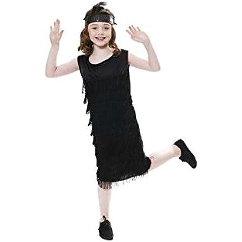 Child Costume da charleston, con nappe, 2 pezzi, taglia