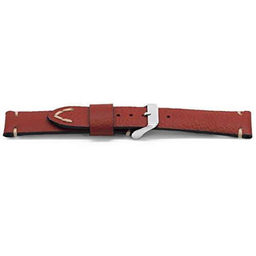 Claudio Calli Leder Uhrenarmband Americana rot mit Edelstahl Dornschliesse 22 mm H715