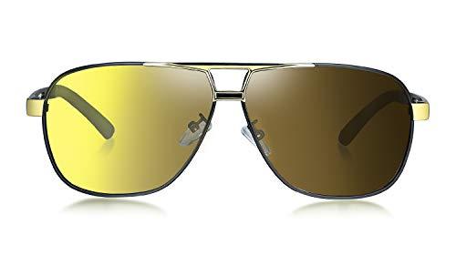 WHCREAT Herren Photochrome Polarisierte Sonnenbrille Pilotenbrille mit Federscharnieren UV400-Schutzglas - Schwarzes Gold Rahmen
