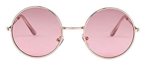 WSKPE Sonnenbrille Frauen Bunte Runde Sonnenbrille Kreis Rosa Linse Klein Sonnenbrille Tönung Schattierungen (Rosa Linse)