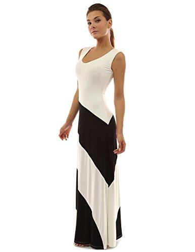 PattyBoutik femmes La maxi robe de plage à rayures d'un col V sans manches noir et blanc ivoire