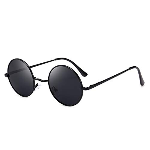 Topsale-ycldx Best-ycldcyp Premium Classic Fashion polarisierte runde Sonnenbrille Männer Frauen Vintage Retro Mirror Coating Sonnenbrille (Color : Silver Frame+Ice Blue Lens)