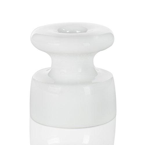 Isolator aus Porzellan, Aufputz Kabelhalter für verseiltes Textilkabel Stoffkabel, weiß glasiert, 19mm Ø | Made in Germany, 3er - Pack