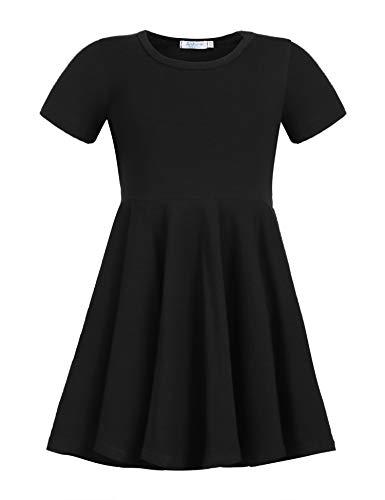 Kleid Mädchen Sommer A-Linie Kurzarm Baumwolle T-Shirt Kleider Freizeitkleidung Gr. 110-150 - Kleider T-shirt Schwarzes