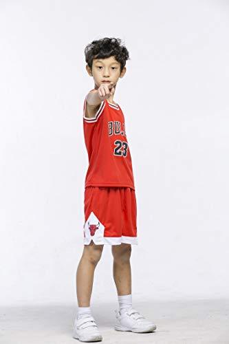 runvian Ensemble de Maillot pour Enfant, NBA # 23 Bulls Jordan / # 23 Lakers James / # 30 Warriors Curry Vêtements d'Entraînement de Chemise de Broderie de Basket-Ball pour Garçons et Filles