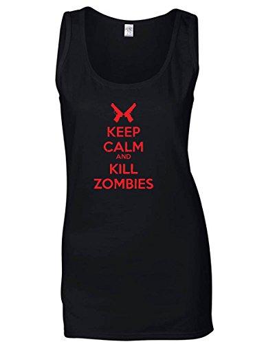 T-Shirtshock - Canottiera Donna TZOM0041 keep calm and kill zombies , Taglia L