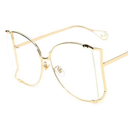 Shiduoli Brillen halbrand Brillengestell Rahmen Brillenglas Brillengläser Unisex Stilvolle Brillen ohne Rezept (Color : Gold)