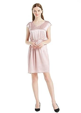LILYSILK Women's Silk Dress Short V Neck Sleeveless Ladies Gown 22 Momme Charmeuse Silk Rosy Pink Size