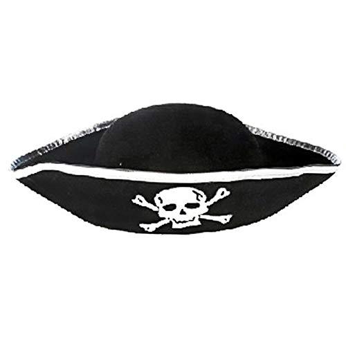Piratenhut Tri Corner - Zubehör für Boucanier mit drei Ecken, Piratenhut silber (Jake Neverland Piraten Kostüm)