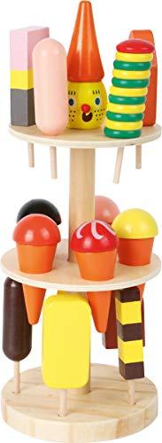 small foot 5261 Eisständer aus Holz, Zubehör für Kaufmannsladen und Kinderküche, mit 15 Sorten, ab 3 Jahren