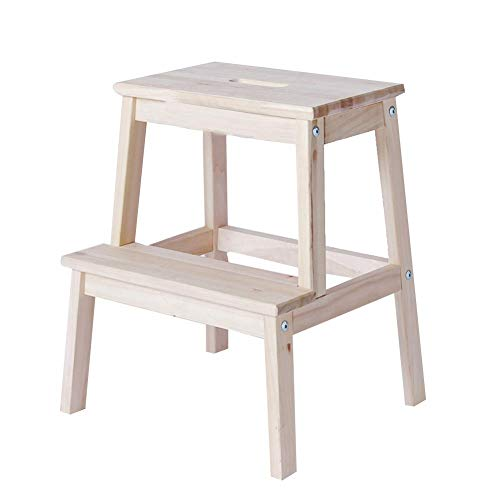 8 Stufe Arbeitsplatte (T-Stepladder Leiterhocker Massivholz Trittleiter Home Assembly Multifunktional Praktisch Einfach Mode, 2 Stufenleiter, Wood Color)