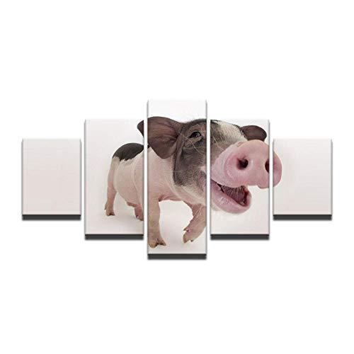 Fbhfbh Leinwand Kunst gemalt wahre natürliche schöne Tier Schwein Ölgemälde moderne Wohnzimmer Wand Dekor Bild gerahmt-12x16/24/32inch,Without frame (Halloween Der Wahre Grund Von)