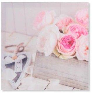 Tableau toile Fleurs roses - Romantique - 40 x 40 cm (M2)