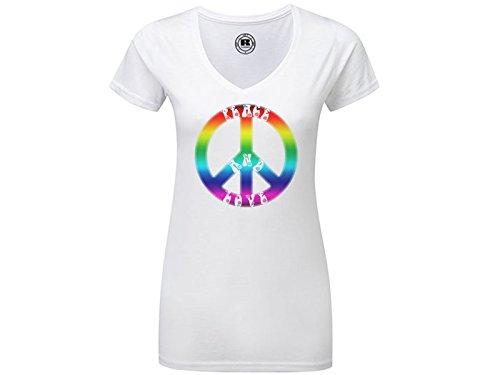Damen V-Neck T-Shirt mit Druck Peace and love (M) (Peace-zeichen-ausschnitte)