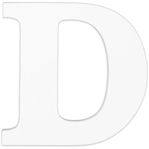 Iniziali da appendere, in legno, lettera D, colore: bianco