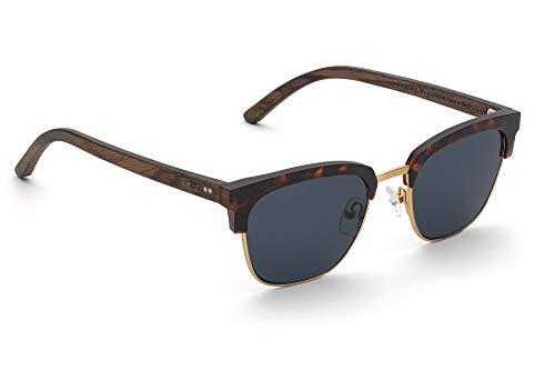TAKE A SHOT - Halbrahmen Holz-Sonnenbrille unisex, Holz-Bügel mit Metall-Kunststoff-Rahmen, UV400 Schutz, rückentspiegelte Gläser, Alden