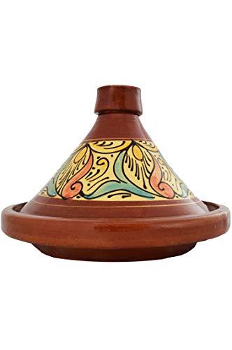 Marokkanische Tajine Topf zum Kochen   Schmortopf glasiert Chaouen Ø35cm 6-8 Personen   inklusive Rezept und Gebrauchsanweisung   ORIGINAL Tontopf handgetöpfert aus Marokko (Tee-topf Für Induktion Herd)