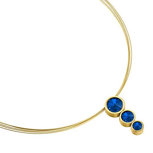 Heideman Halskette Damen Tres aus Edelstahl Gold farbend matt Kette für Frauen mit Swarovski Stein Kristall Sapphire blau im Fantasie Edelsteinschliff (Diamant-halskette Schwarz Weiß)