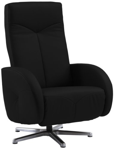 Sino-Living SE-812 Relax- und Ruhesessel in Dickleder, schwarz mit manueller Verstellung