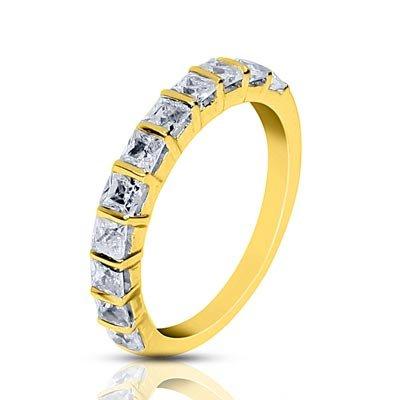Libertini Women's 92 Kt Yellow Color Silver Half Eternity Shaped 0.8 Ct Round Cut Diamond Ring Size: