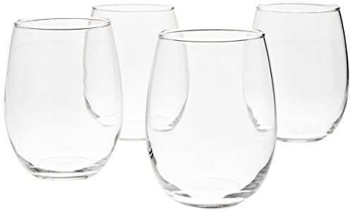 AmazonBasics - Vasos de vino, 443 ml - Set de 4