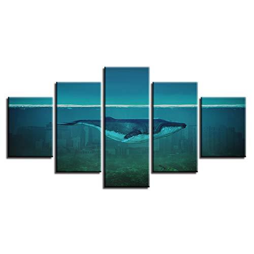 Leinwand Gemälde Wohnzimmer Decor 5 Stücke Delphin Im Meer Bett Schwimmen Bilder HD Gedruckt Whale Poster Modulare Wandkunst