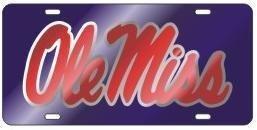 Ole Miss Rebels Script Logo Mirrored License Plate Car Tag