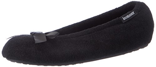 isotoner-pantofole-stretch-terry-donna-black-s