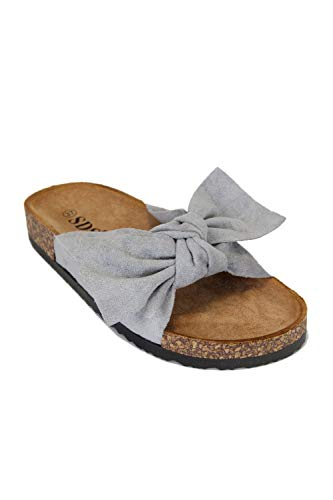 irisaa Bunte Pantoletten Sandalen mit Schleifen oder Blumen zum Sommer, 2019 Patoletten Farbe (1):Grey, Schuhgröße 36-41:40