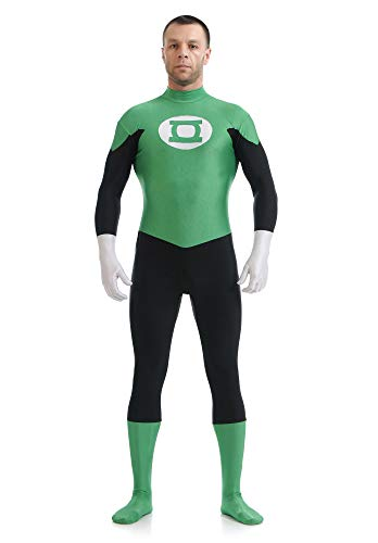 SHANGN Halloween Cosplay Kostüm Spandex Dress Up Green Lantern Bodysuit,Child-M Halloween Green Lantern
