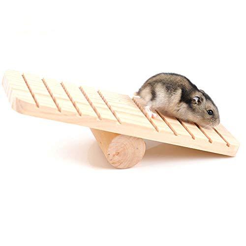 Fliyeong Hamster Toys Haustier Wippe Holzplattform Klettern Spielen Eichhörnchen Ratte Meerschweinchen Kleintiere Spielzeug Übung - Hamster Spielzeug Klettern