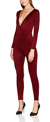 FM London Damen Slim Jumpsuit Floral Maxi, Rot (Burgandy) , 40 EU ( 14 UK ) Designer Damen Jumpsuits
