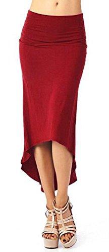 SunIfSnow, benda elastica lunga donna Sexy asimmetrico Slim formale lavoro gonne Red Wine (Petite Denim A-gonna)