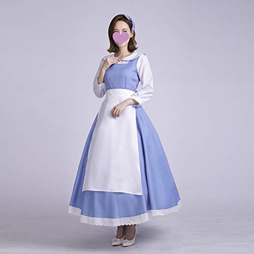 Cosplay Kostüm Beauty and The Beast Kleid Anime Kostüm Anzug Party Kostüm Für Erwachsene Inklusive Shirt + Kleid + Schürze,XL