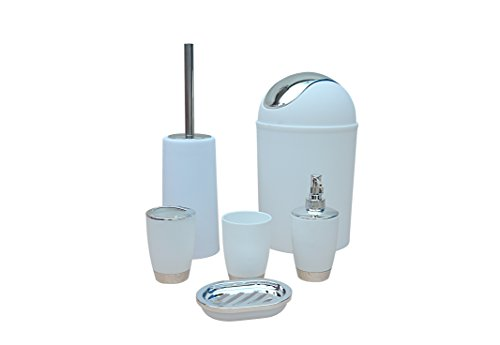 Stella 6 pezzi accessori bagno set bin detersivo per i piatti erogatore tumbler porta spazzolino - bianco