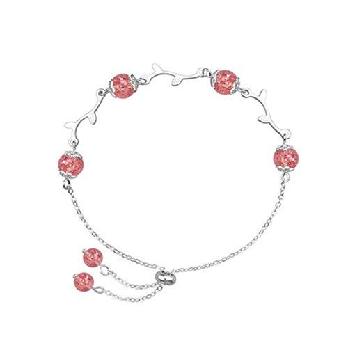 FMXJYNZB Armband Natürliche Erdbeere Kristall Armband Weibliche Koreanische Version des Einfachen Studenten Sen Department Von Honig Pulver Kristall-Trick Pfirsich-Ornamente -