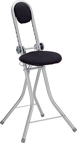 axentia Stehhilfe schwarz,  6-fach höhenverstellbare Bügelstehhilfe, Stehhocker klappbar, Stehsitz...