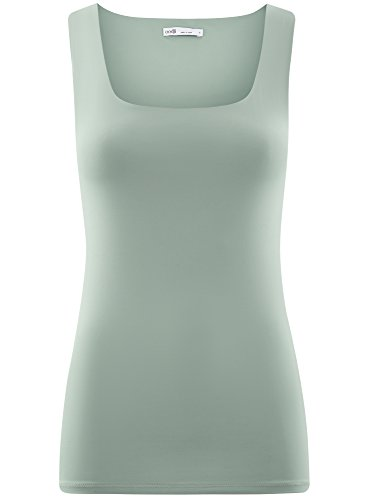 oodji Collection Donna Top in Tessuto Elastico a Spalline Larghe Blu (7000N)