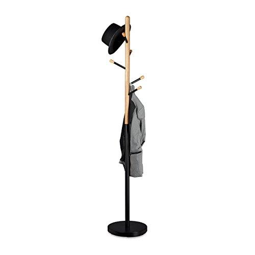 Relaxdays Garderobenständer, Garderobe, Kleiderständer, Flurgarderobe, Holz, Metall, HxBxT: 180 x 34 x 34 cm, schwarz