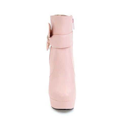 ZQ@QX In autunno e inverno a testa circolare di spessore con scarpe con i tacchi alti grandi cantieri, Cilindretto corto Stivali Stivali femmina Pink