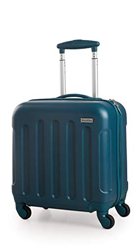 Suitline S3 - Hard Shell - Bagaglio a mano, Business trolley da viagio ABS, 4 ruote, Blu Petrolio