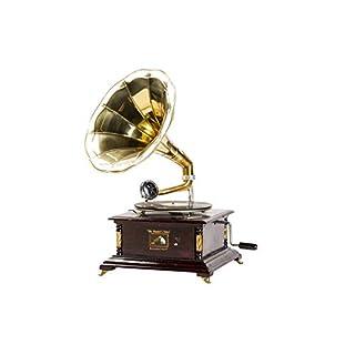 Grammophon mit Trompete Messing HIS MASTER 'S VOICE kontinuierliche quadratisch mit Einsätzen