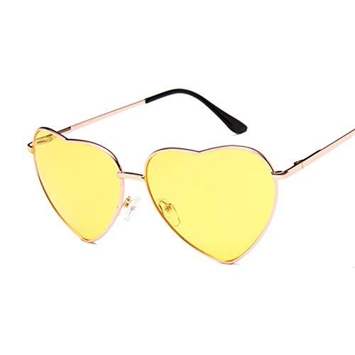 Kjwsbb Damen herzförmige Sonnenbrille Frauen randlose Liebe klar Metall Ocean Linsen Sonnenbrille UV400