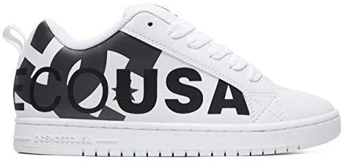 #DC Court Graffik SE White Black Leather Mens Skate Trainers - Dc Court Graffik Se Schuh