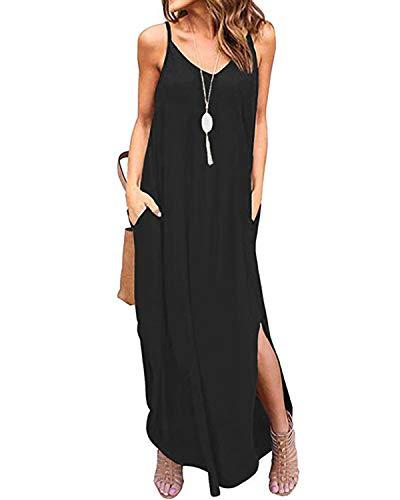 Damen Kleid Outfit (Kidsform Damen Kleider Großen Größen Maxikleider Sommerkleider Elegant Strandkleider Kurzarm V-Ausschnitt Split Lang Kleid L)