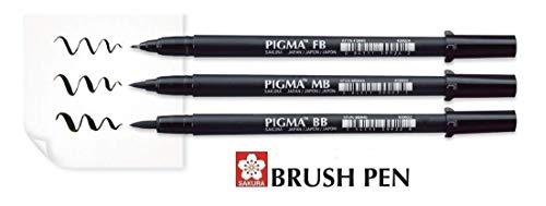Sakura Pigma Brush Pen Negro Set 3 Pincel
