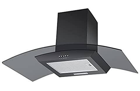 Cookology Unbranded Extractor Fan | CGL900BK 90cm Curved Glass Chimney Cooker Hood in Black