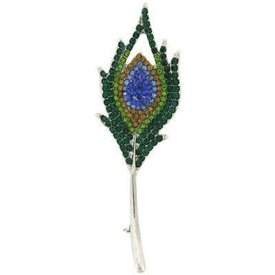 Brooches Store Multi Swarovski Crystal Exotic Peacock Feather Brooch