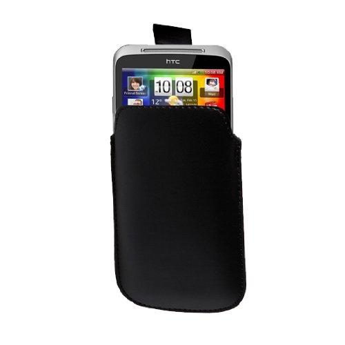 Neues Qualität Schwarz Leder Handytasche Schutzhülle Für HTC ChaCha Von Yousave